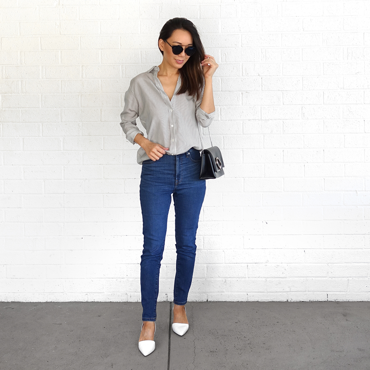 Everlane Jeans and Silk Shirt