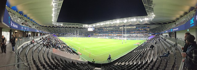 Night game at the new BankWest Stadium in Parramatta