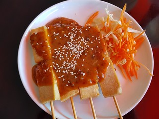Tofu Skewers with Peanut Sauce at PingAn Veggie Time