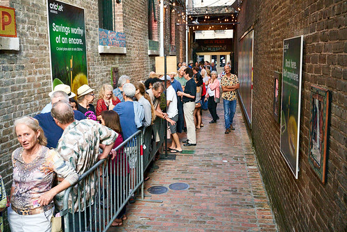 Waiting to get in at Piano Night - April 29, 2019. Photo by Eli Mergel.