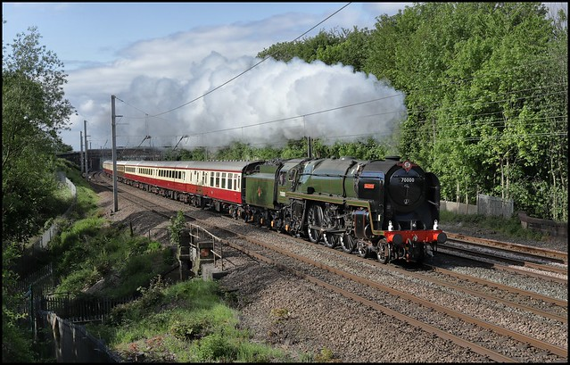 Golborne, Mill Lane, 70000 Britannia (08.07 Crewe - Carlisle) 'The Lakelander' 18/05/19.