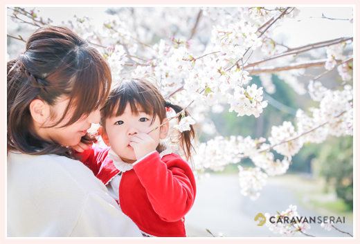 幼稚園入園記念写真 女の子 桜の花と一緒に