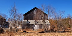 Abandoned board-and-batten horse barn - Scotsdale Farm, Halton Hills, Ontario ..
