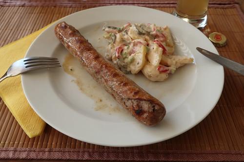 Lammbratwürstchen zu Kartoffelsalat