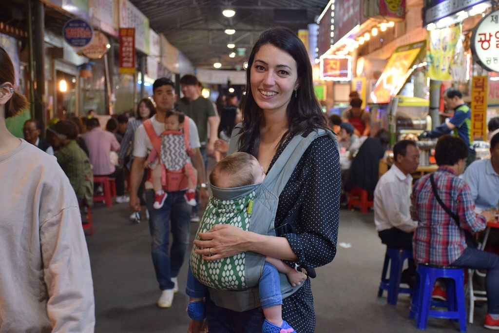 Visitando un mercado en Corea del Sur