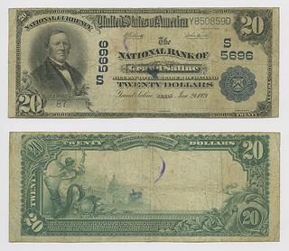 United States $20.00 (twenty dollars) national currency