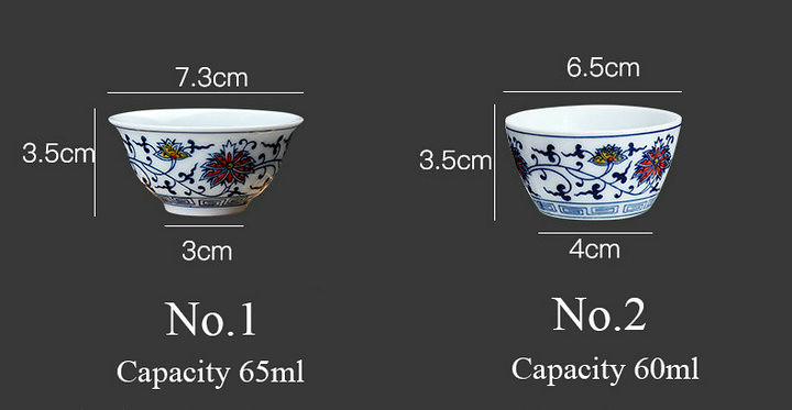 """Qing Hua Ci"" (Blue and White Porcelain) Twining Lotus Pattern Tea Cup 2 Variations"