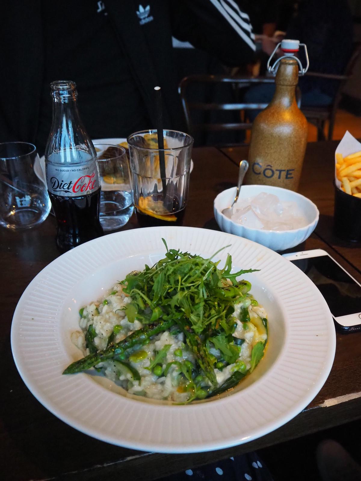 cote brasserie vegan menu risotto vert