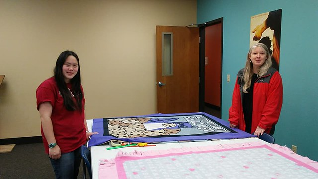 Blood drive - Sophia and Ann with blankets