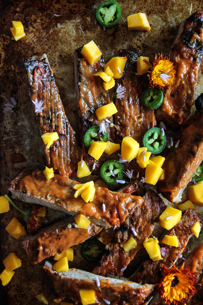 Spicy Mango Barbeque Ribs from HeatherChristo.com