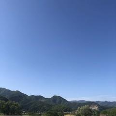 今朝の空、青空で清々しい風も吹いてる。夕方から雨って信じられないくらい。 #morningsky #shinshu