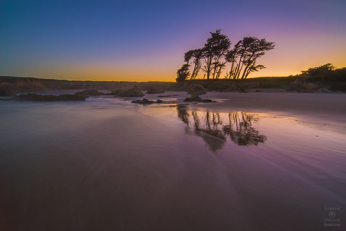 sunrise sky water reflection landscape sand beach fortbragg california trees colorful