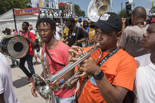 The Chosen Ones Brass Band with VIP Ladies and Original Four SA & PC at Jazz Fest day 5 on May 2, 2019. Photo by Ryan Hodgson-Rigsbee RHRphoto.com