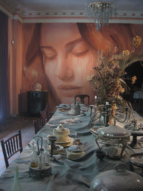 Miss Havisham's Feast - the Dining Room Portrait of Lily Sullivan - Rone Empire Installation Exhibition; Burnham Beeches, Sherbrooke