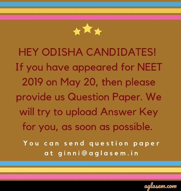 NEET 2019 Answer Key S 1, 2, 3, 4, 5, 6 with Solutions