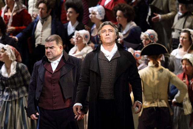 Dimitri Platanias as Carlo Gérard and Roberto Alagna as Andrea Chénier in Andrea Chénier, The Royal Opera © 2019 ROH. Photograph by Catherine Ashmore