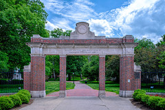 The Ohio University Alumni Gateway at the intersection of Court and Union Streets in Athens, Ohio