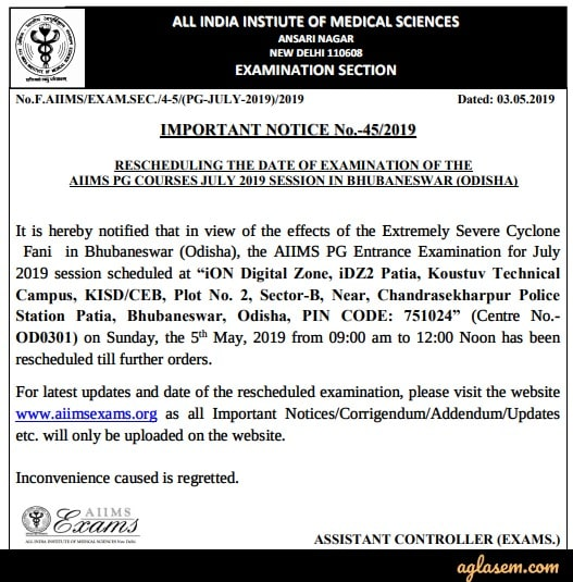 AIIMS PG 2019 (July Session) - Counselling, Seat Allotment, Fees