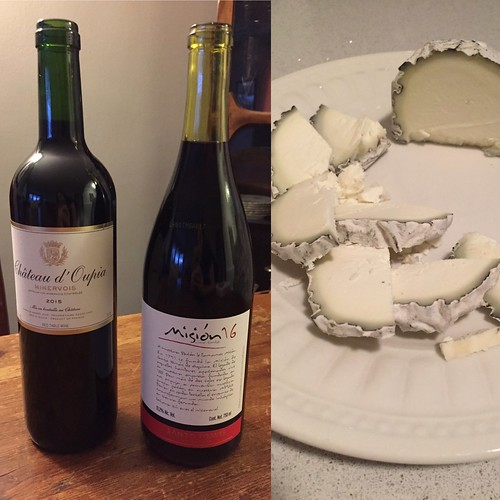 Chateau d'Oupia Minervois and Misión 16 by Santo Tomas with Wabash Cannonball cheese