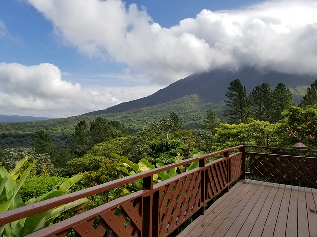 View of Arenal Volcano from the deck at Arenal Observatory Lodge. Costa Rica.