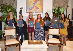 2019 Scholarship Tea--Oona DiMatteo, Katherine Chuei, Ayva O'Kane, Fable Young-Shor, Salma Hashem, Jada Jones, and Adrienne Wang_0072