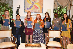 2019 Scholarship Tea--Oona DiMatteo, Katherine Chuei, Ayva O'Kane, Fable Young-Shor, Salma Hashem, Jada Jones, and Adrienne Wang._0073