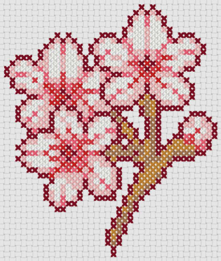 Preview of Free Japanese cross stitch patterns: Sakura Flowers