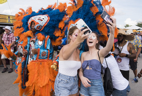 Selfie with The Wild Tchoupitoulas at Jazz Fest day 6 on May 3, 2019. Photo by Ryan Hodgson-Rigsbee RHRphoto.com