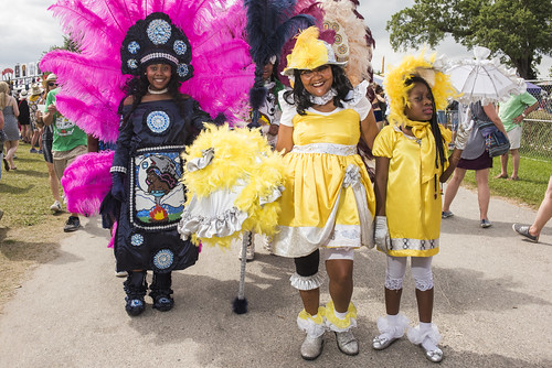 Wild Tchoupitoulas Black Indian of Mardi Gras and Baby Doll Kit at Jazz Fest day 6 on May 3, 2019. Photo by Ryan Hodgson-Rigsbee RHRphoto.com
