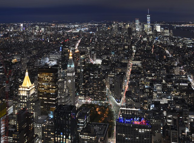 New York night view, looking south from the Empire State Building