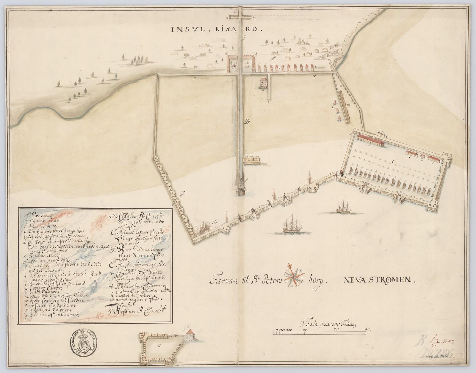 1724. Цветной рисунок гавани Кронстад и крепости Кронслот