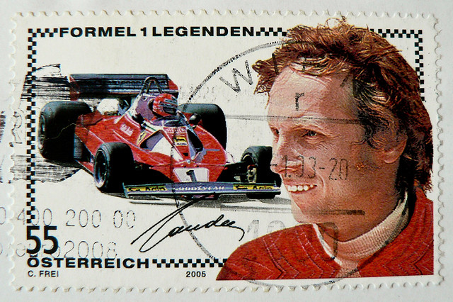 **in memory** great stamp Austria 55c Niki Lauda (22 February 1949 – 20 May 2019; Formula One Legend, F1 World Drivers' Champion 1975, 1977, 1984) postage timbre Autriche selo sello francobollo Austria почтовые марки Австрия postzegel Oostenrijk