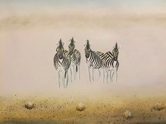 Zebra in the Morning Mist - in Oil, from my own collection.