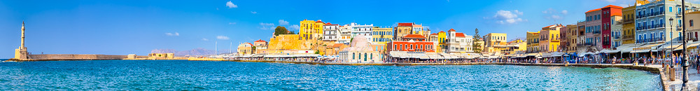 Picturesque Chania Central Promenade Walk Cityscape and Old City with Ancient Venetian Port in Crete, Greece.