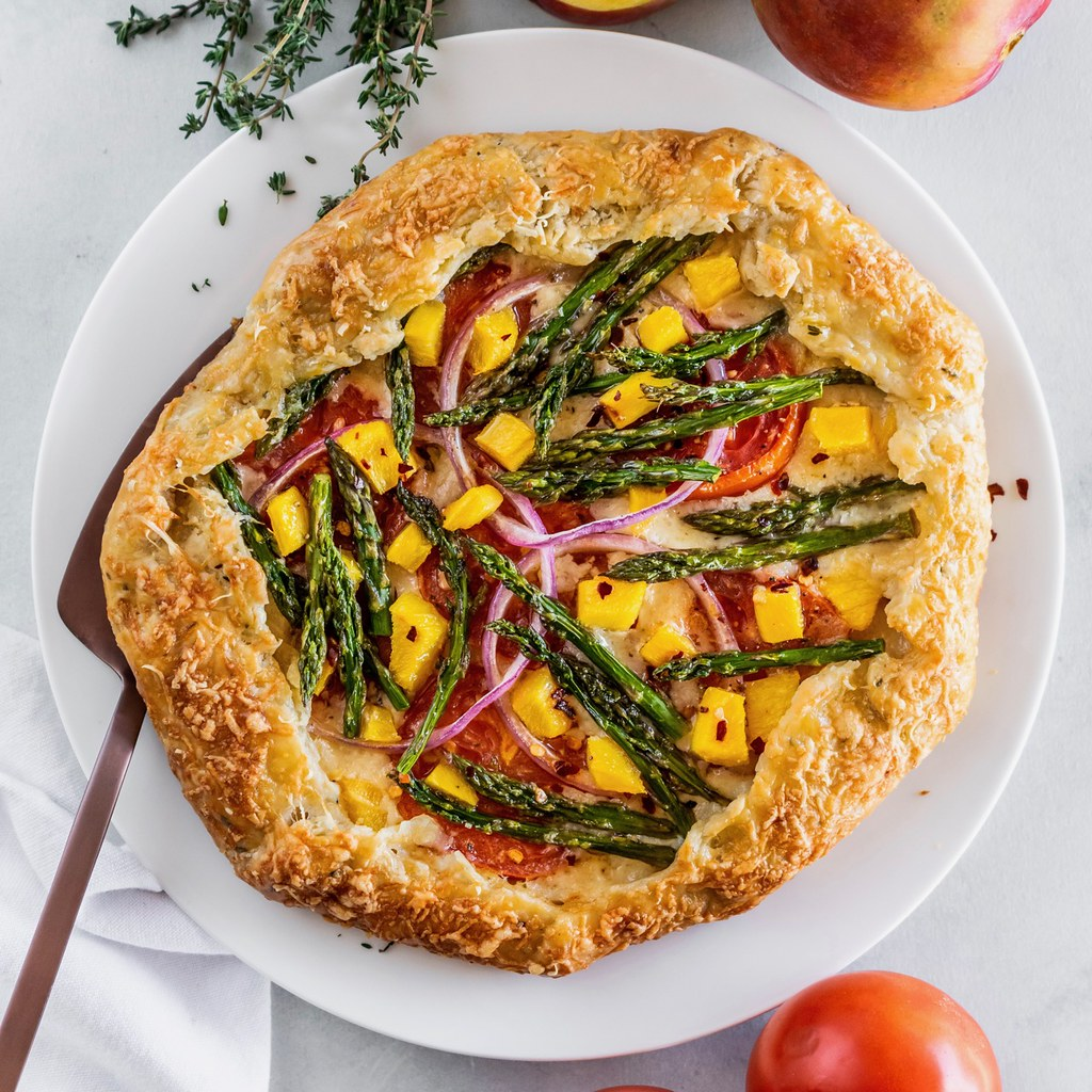 spring galette with asparagus, gruyere, and mango