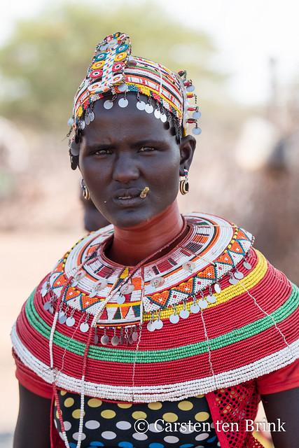 Samburu woman with miswak toothbrush