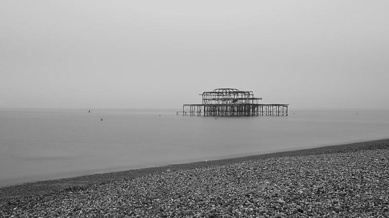 Foggy sunrise at the pier