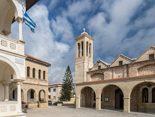 cyprus church tower street cathedral spring paphos holiday walking