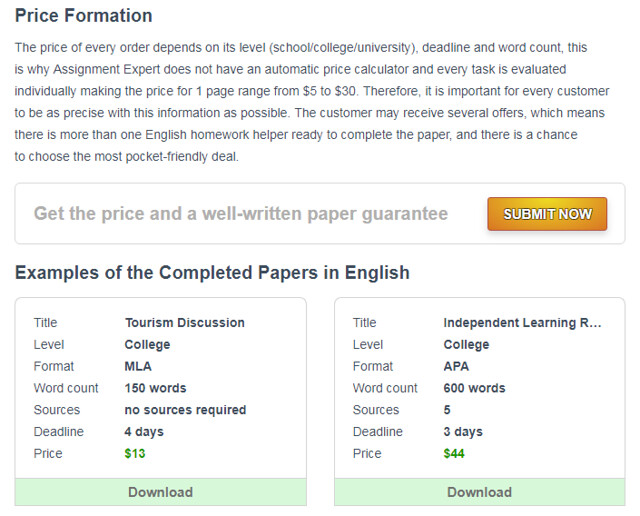 assignment expert prices