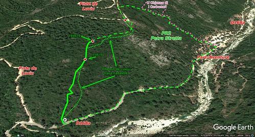 Photo 3D Google Earth avec le tracé de la restauration du chemin de Luviu pour le PR2 au 19/05/2019