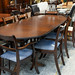 Mahogany inlaid extendable dining table CW 6 chairs E285