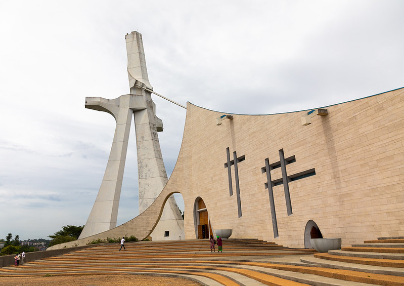 Roman catholic st. Paul's cathedral built by the italian architect Aldo Spirito at the initiative of Félix Houphouët-Boigny, Région des Lagunes, Abidjan, Ivory Coast