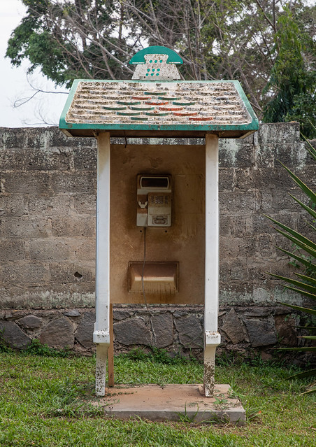 Out of order telephone booth in the street, Tonkpi Region, Man, Ivory Coast