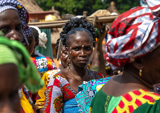 Dan tribe women celebrating the yam harvest in a village, Bafing, Godoufouma, Ivory Coast