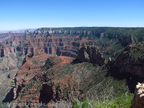 Looking west toward the end of the side canyon along the Ken Patrick Trail on the North Rim of Grand Canyon National Park, Arizona