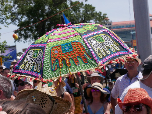 Fest umbrella  on Day 8 of Jazz Fest - 5.5.19. Photo by Louis Crispino.