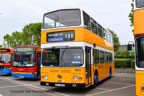 Preserved ex Tyne and Wear PTE (later Busways Travel Services) 413, a 1982 Alexander RH bodied Scania BR112DH, reg no JFT413X