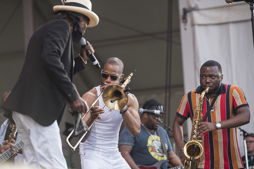 Trombone Shorty & Orleans Avenue with Nevilles at Jazz Fest 2019 day 8 on May 5, 2019. Photo by Ryan Hodgson-Rigsbee RHRphoto.com