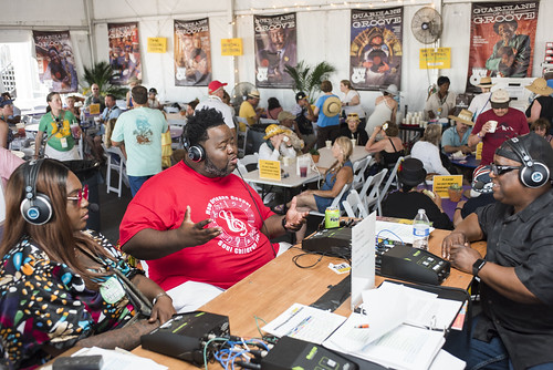 Craig Adams on the air with Keith Hill from Jazz Fest 2019 day 8 on May 5, 2019. Photo by Ryan Hodgson-Rigsbee RHRphoto.com