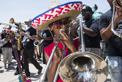 Alvin Coco plays with Da Knockaz Brass Band at Jazz Fest 2019 day 8 on May 5, 2019. Photo by Ryan Hodgson-Rigsbee RHRphoto.com